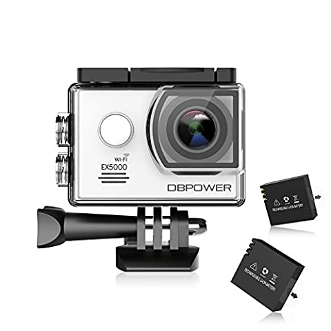 DBPOWER® ex5000Originale VERSIONE WiFi 14MP FHD Sport Action Kamera Impermeabile CON 2Batterie E Kit Zubehör inclusi (Bianco)