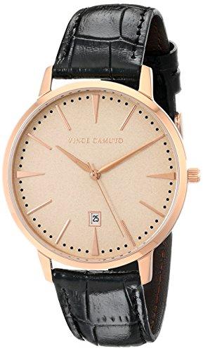 Vince Camuto - VC/1073LRRG - Montre Mixte - Quartz - Analogique - Bracelet Cuir noir