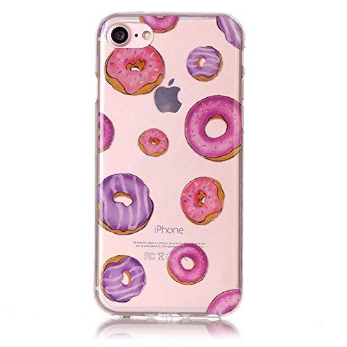 Für iPhone 7 4.7 Zoll [Scratch-Resistant] Weichem Handytasche Weich Flexibel Silikon Hülle,Für iPhone 7 4.7 Zoll TPU Hülle Back Cover Schutzhülle Silikon Crystal Kirstall Durchschauen Clear Case,Funyy Donuts