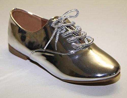 Chaussures Femme Derby Derbie Vernis Simili cuir à Lacets Fashion Pierre-cedric Argenté