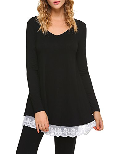 iClosam Damen Tunika Langarm Shirt Tops Spitze Front LangarmTop Bluse mit V-Ausschnitt (Front-wetter-stiefel)