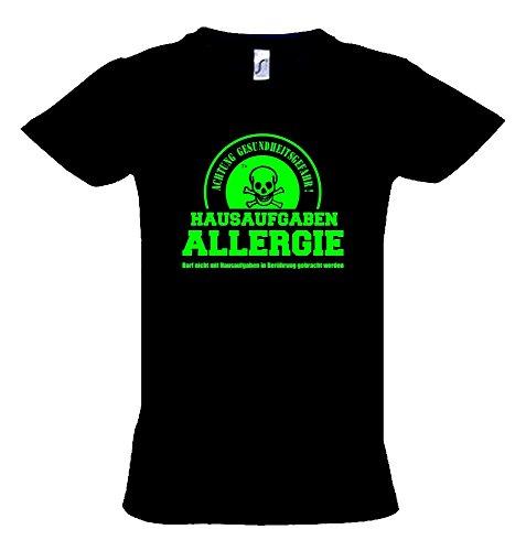 HAUSAUFGABEN ALLERGIE - Vorsicht Gesundheitsgefahr ! Nicht mit Hausaufgaben in Verbindung bringen ! Kinder T-Shirt schwarz-green, Gr.164cm (Hausaufgaben-kinder-t-shirt)