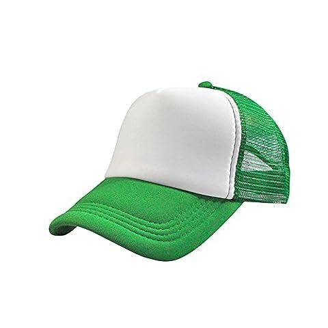 amaz Mall Unisexe Mesh Casquette Trucker Blank Curved Visor A Adjustable Medium Green+White