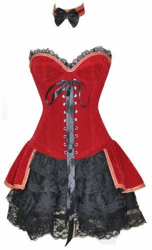 Halloween Sexy Romantik Burleske Vintage Vollbrust Corsage mit Passendem Rock Korsett Rot Kleid Größe 38