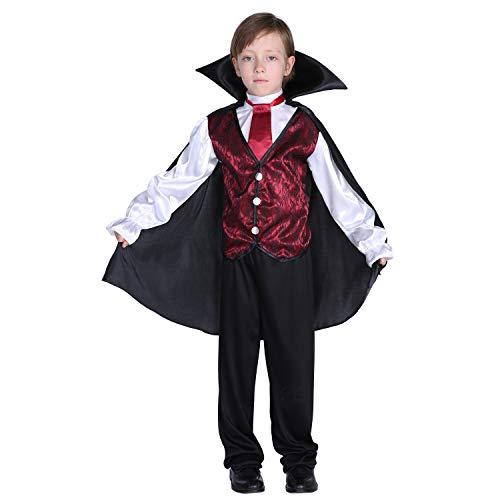 GIFT ZHIZHUXIA Kinder Halloween Kostüm Mädchen Jungen Cosplay Kleid 4-12 Jahre Horror Evil Vampire Weihnachtsfeier Kleid Requisiten (Farbe : Photo Color, größe : XL)