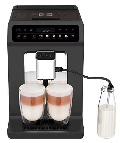 Krups EA895N Evidence One Kaffeevollautomat (1450 Watt, Doppel-Tassen-Funktion, One-Touch-Cappuccino, Bohnenbehälter: 260 g, Wassertank: 2,3 Liter) meteor graphit