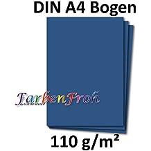 DIN A4 Papier Planobogen - Dunkelblau | 50 Stück | 110 g/m² | Bastelbogen - Briefpapier - Bastelkarte | 210 x 297 mm | formstabil | Printable für Drucker geeignet | PREMIUM Qualitätsmarke: NEUSER FarbenFroh
