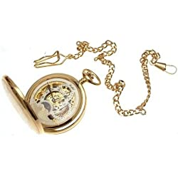 Engraving included - Gold plated on brass mechanical skeleton full hunter pocket watch sun and moon design with dual time zone