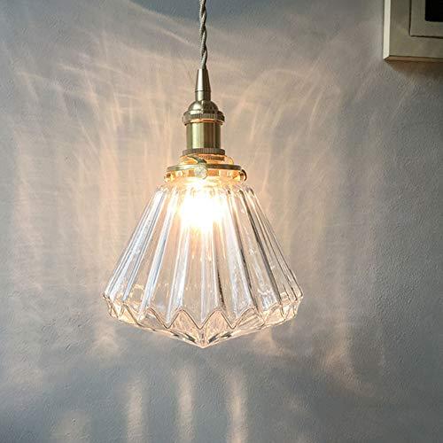 Liunce Nordic Modern Simple Araña de Cristal Transparente E27 Metal Creativo Hierro Latón Loft Bar Pasillo Colgante Luz Tienda de Ropa Restaurante Bar Lámpara de Techo Decorativa