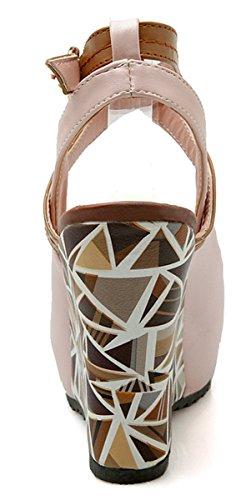 YE Damen Peep Toe High Heels Plateau Riemen Keilabsatz Leder Pumps Sommer Sandalen Schuhe Rosa