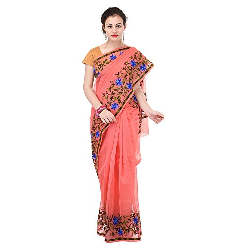 Luvit Women's Aari Work Pure Kota Supernet Cotton Saree With Blouse (Orange)