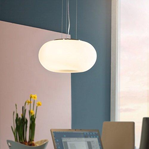 FineBuy Design Pendelleuchte LASY Hängelampe Ø 38cm moderne Deckenlampe weiß | Wohnzimmerlampe Nickel matt | Pendellampe Lampenglas Milchglas | Esszimmerleuchte 3 x E27 IP20 (Milchglas Lampenschirm)