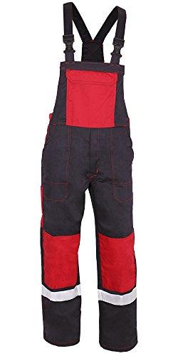 KERMEN - Arbeits-Latzhose Bremen Kombi-hose Kniekissentaschen Reflex-Streifen - Größe: 52, Farbe: Schwarz-Rot