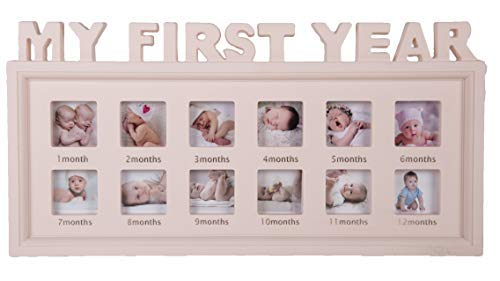 Aica Gifts My First Year Photo Frame for 12 Months. Gift Born Baby Girl.First 1st Year Birthday Gift for Baby Girl.Gift for Baby Shower.New Born Baby Girl Gift.