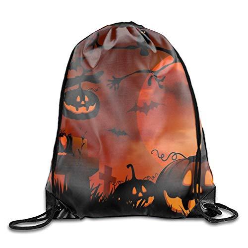 Setyserytu Sporttasche mit Kordelzug, Sportrucksack, Reiserucksack, Holiday Halloween Drawstring Drawstring Backpack for Adult Holiday Halloween Jack-o-Lantern Tree Moon3