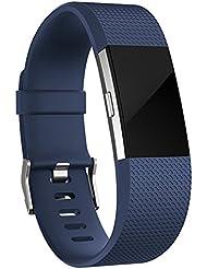 Für Fitbit Charge 2 Armband,SnowCinda Verstellbares Ersatzarmband Wristband TPU Design Bands Fitness Zubehörteil mit Metallschließe
