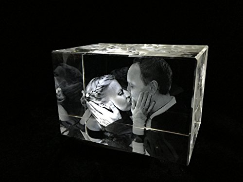 3D Glas Quader Kristall mit individuellem Foto graviert 80x50x50 mm