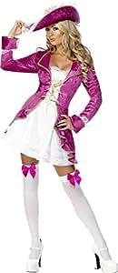 Fever Kollektion Piraten-Schatz Kostüm Rosa Jacke mit angesetztem Kleid und Hut, X-Small