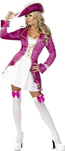 Kostüme Jacke Damen Rosa (Fever, Damen Piraten Schätzchen Kostüm, Jacke mit angesetzem Kleid und Hut, Größe: L,)