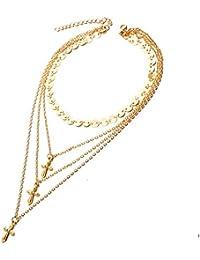 676612c7236f Collar Mujer joven Collar de Gargantilla Necklace Colgante Cruzar Collar de  múltiples capas collares mujer fantasia