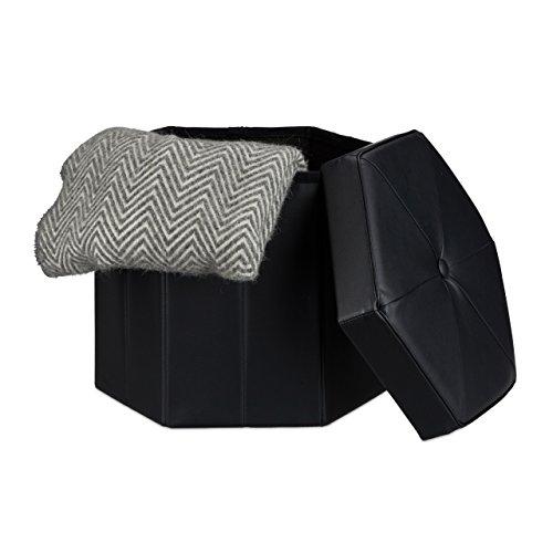 Relaxdays Faltbarer Sitzhocker sechseckig mit Stauraum und Deckel zum Abnehmen HBT: 38 x 42 x 42 cm Sitzwürfel aus Kunstleder Hocker zum Falten und Verstauen Sitzbank und Sitzgelegenheit, schwarz