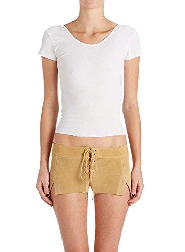 ACHICGIRL Women's Fashion Short Sleeve Backless Crop Top Tee white
