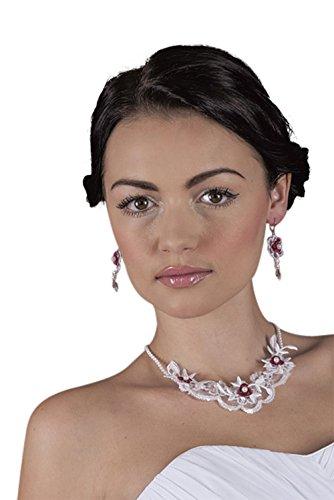 MGT-Shop mariée Collier Lot de 2avec chaîne collier boucles d'oreilles Mariage Mariée Bijoux Bijou Fantaisie Chaîne Collier Pointe 15 weiß/bordeux