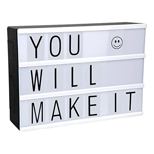 LitEnergy Boîte de message de LED cinématique avec Black Shell et 90 Black Letters
