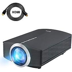 Proyector, Deeplee DP500 Mini Proyector LCD de 2000 Lumen, Multimedia Home Cinema Video Proyector Portátil de Apoyo 1080P HDMI USB Tarjeta TF VGA AV para Teatro en Casa TV Juego