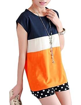 Verano Mujer Camisetas Moda Color Splicing Blouses T-Shirt Blusa Casual Cuello Redondo Manga Corta Camisas Tops...