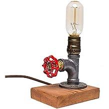 Lámpara de Mesa , Lámpara de Escritorio vintage-E27 Bombilla Edison De Madera Retro Industrial