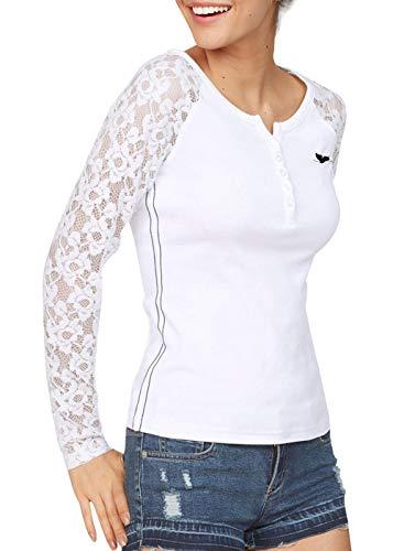 TrendiMax Damen Langarmshirt für Sport & Freizeit Casual Oberteil mit Spitze Ärmeln