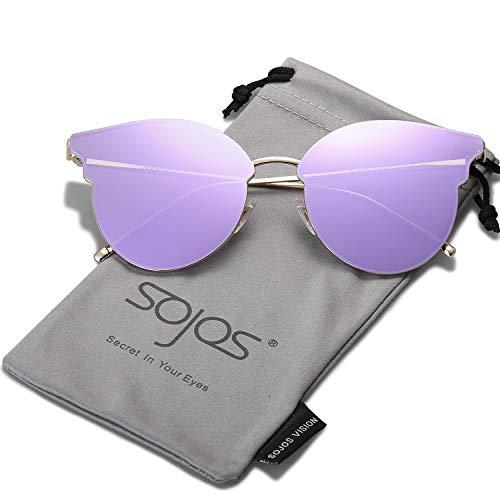 SOJOS Katzenaugen Sonnenbrille Runde Schick Groß Verspiegelt Modernem Design Cateye SJ1055S mit Gold/Violett verspiegelt mit Lederbox