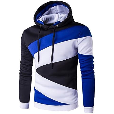 YouPue Uomo Contrasto di colore Con Cappuccio Casual Maglione Camicia Felpa