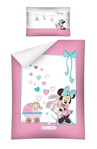 Detexpol Kinderbettwäsche Minnie Mouse 1632, Baumwolle, Rosa/Weiß, 100 x 135 cm, 2-Einheiten