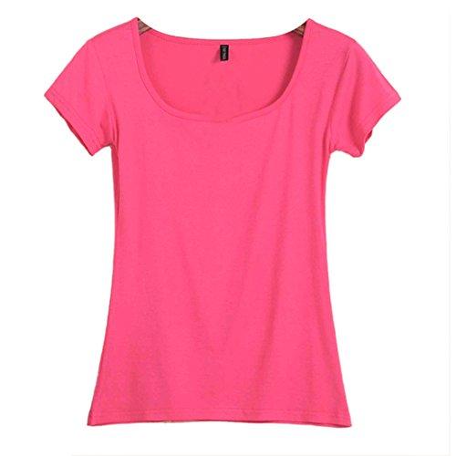 QIYUN.Z Les Femmes D'ete a Manches Courtes Couleur Unie O Encolure Creux Mince Tee Shirt Rose rouge
