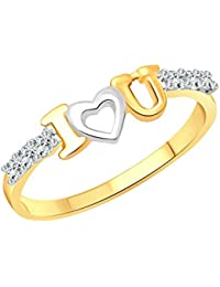af16ddc1f0 Vighnaharta I Love U CZ Gold and Rhodium Plated Alloy Ring for Women and  Girls -