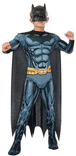 3 Deluxe Kostüme Muskel (Jungen Offiziell Batman Deluxe Muskel Brust Superheld Halloween Büchertag Kostüm Verkleiden Outfit 3 - 10 jahre - Schwarz, Schwarz, 5-7)