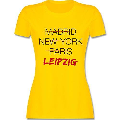 Shirtracer Städte - Weltstadt Leipzig - Damen T-Shirt Rundhals Gelb