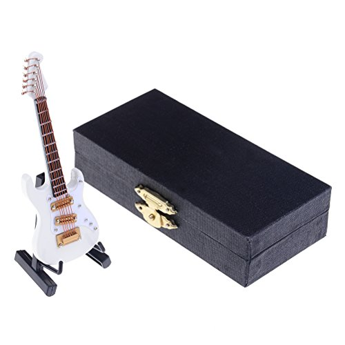 Ongwish Mini Wooden White Electric Guitar Model, Instruments House Decoration Ornaments, FREE Display Stand and Storage Box