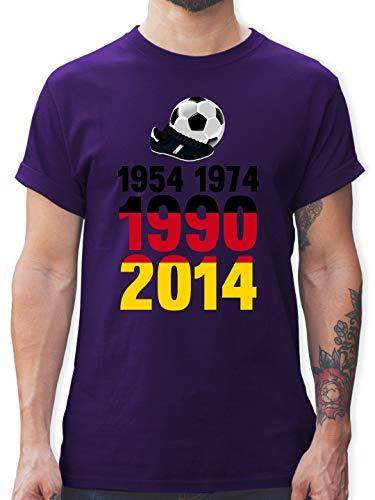Fußball-Europameisterschaft 2020-1954, 1974, 1990, 2014 - WM 2018 Weltmeister Deutschland - XL - Lila - L190 - Tshirt Herren und Männer T-Shirts