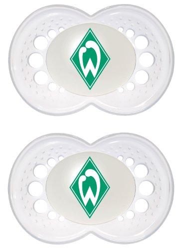 "Preisvergleich Produktbild MAM 66181501 – Schnuller, Bundesliga, Football""SV Werder Bremen"" 6-16 Monate, Silikon, Doppelpack"