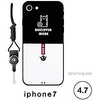 Preisvergleich für OVVO Einzigartiges Desigh iPhone 7 Soft Slim Phone Cover Liebhaber Telefon Fall mit Lanyard (Katze)