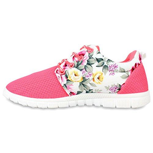 Herren Sportschuhe Muster   Laufschuhe Übergrößen   Sneakers Profilsohle   Blumen Runners Neonpink Flower