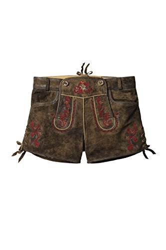 Stockerpoint - Damen Trachten Lederhose kurz, Xenia Havanna Antik-Rot