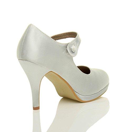 Prata Jane De Mary Mulheres Calcanhar Tamanho Cetim Noite Alta Alça Meados Elegantes Bombas Sapatos 7TqtxU