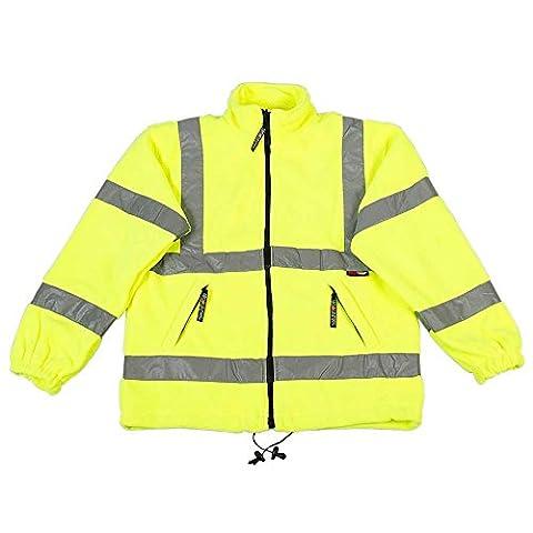 High Visibility Viz Yellow Reflective Mens Workwear Safety Fleece Coat Jackets