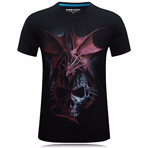 Men's Dragon Skull 3D Printed Novelty Hip Hop T-Shirt Black 2
