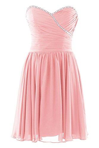 YiYaDawn Kurzes Partykleid Cocktailkleid Brautjungfernkleid für Damen Rosa