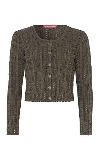 Lieblingsgwand Moser Trachten Strickjacke Oliv Lisa 005068, Material Baumwolle, Rundhalsausschnitt, Größe 36